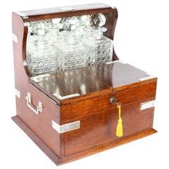 English Victorian Oak Three Crystal Decanter Tantalus Dry Bar, 19th Century