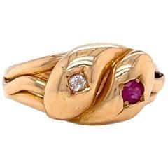 Antique English Victorian Ruby Diamond 18 Karat Gold Intertwining Snake Ring