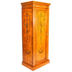 Antique English Victorian Satinwood Hand Painted Wardrobe, 19th Century