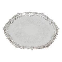 Antique English Victorian Silver Plated Salver Barker Ellis, 19th Century