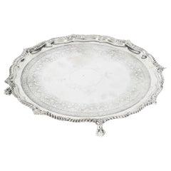 Antique English Victorian Silver Plated Salver James Dixon, 19th Century