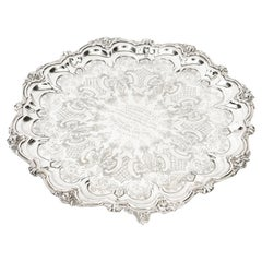 Antique English Victorian Silver Plated Salver Large, 19th Century