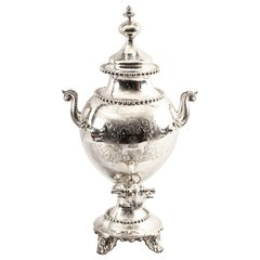 Antique English Victorian Silver Plated Samovar, 19th Century