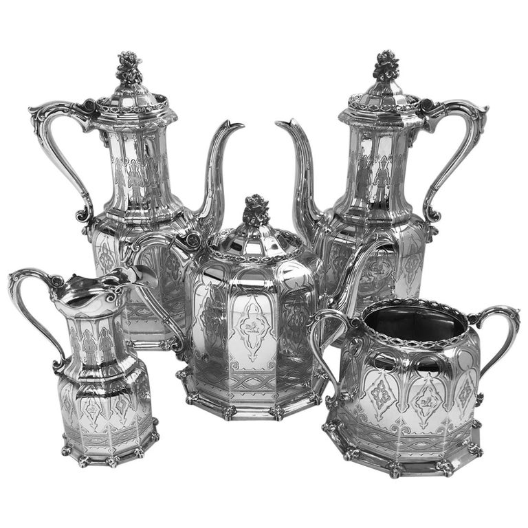 Antique English Victorian Silver Tea and Coffee Service For Sale