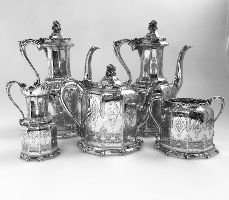 Gothic Antique English Victorian Silver Tea and Coffee Service For Sale