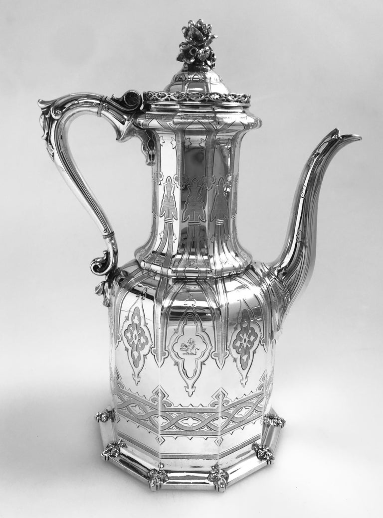 Engraved Antique English Victorian Silver Tea and Coffee Service For Sale