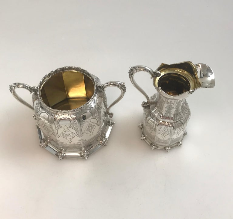 Antique English Victorian Silver Tea and Coffee Service For Sale 2