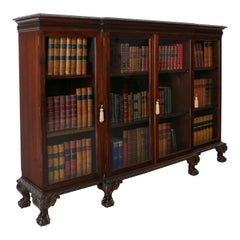 Antique English Victorian Solid Mahogany Carved Glazed Breakfront Dwarf Bookcase