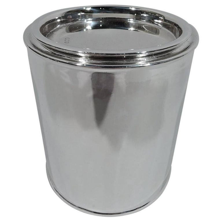 Antique English Victorian Sterling Silver Canister Tea Caddy For Sale