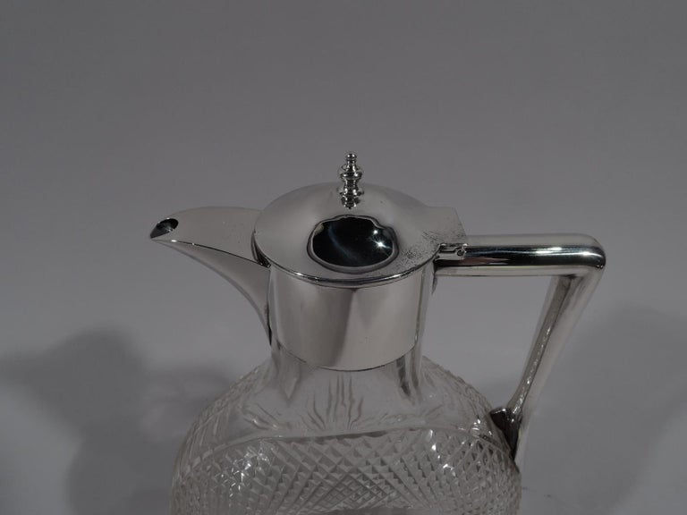 Antique English Victorian Sterling Silver and Cut-Glass Moon Decanter In Excellent Condition For Sale In New York, NY