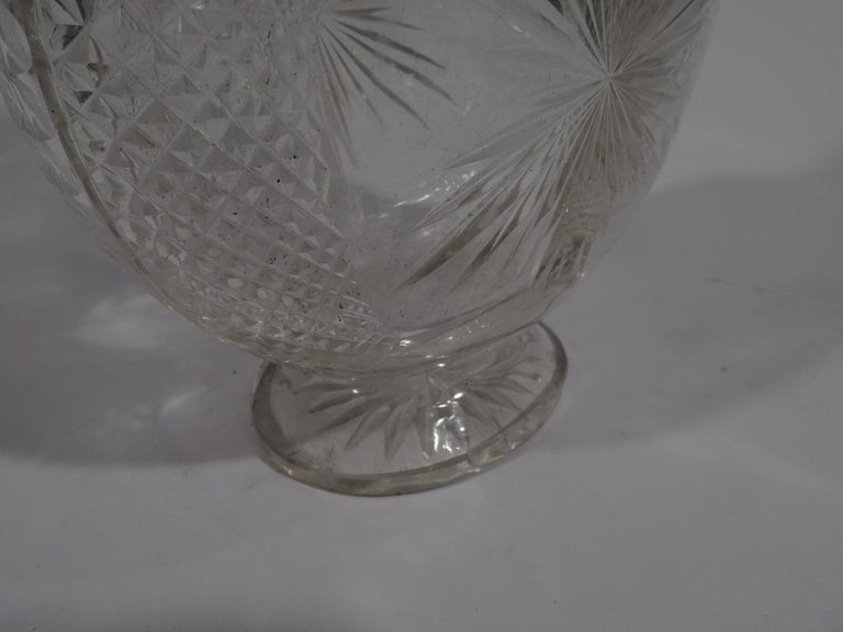 Antique English Victorian Sterling Silver and Cut-Glass Moon Decanter For Sale 2