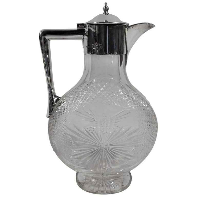 Antique English Victorian Sterling Silver and Cut-Glass Moon Decanter For Sale