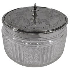 Antique English Victorian Sterling Silver and Cut-Glass Vanity Jar
