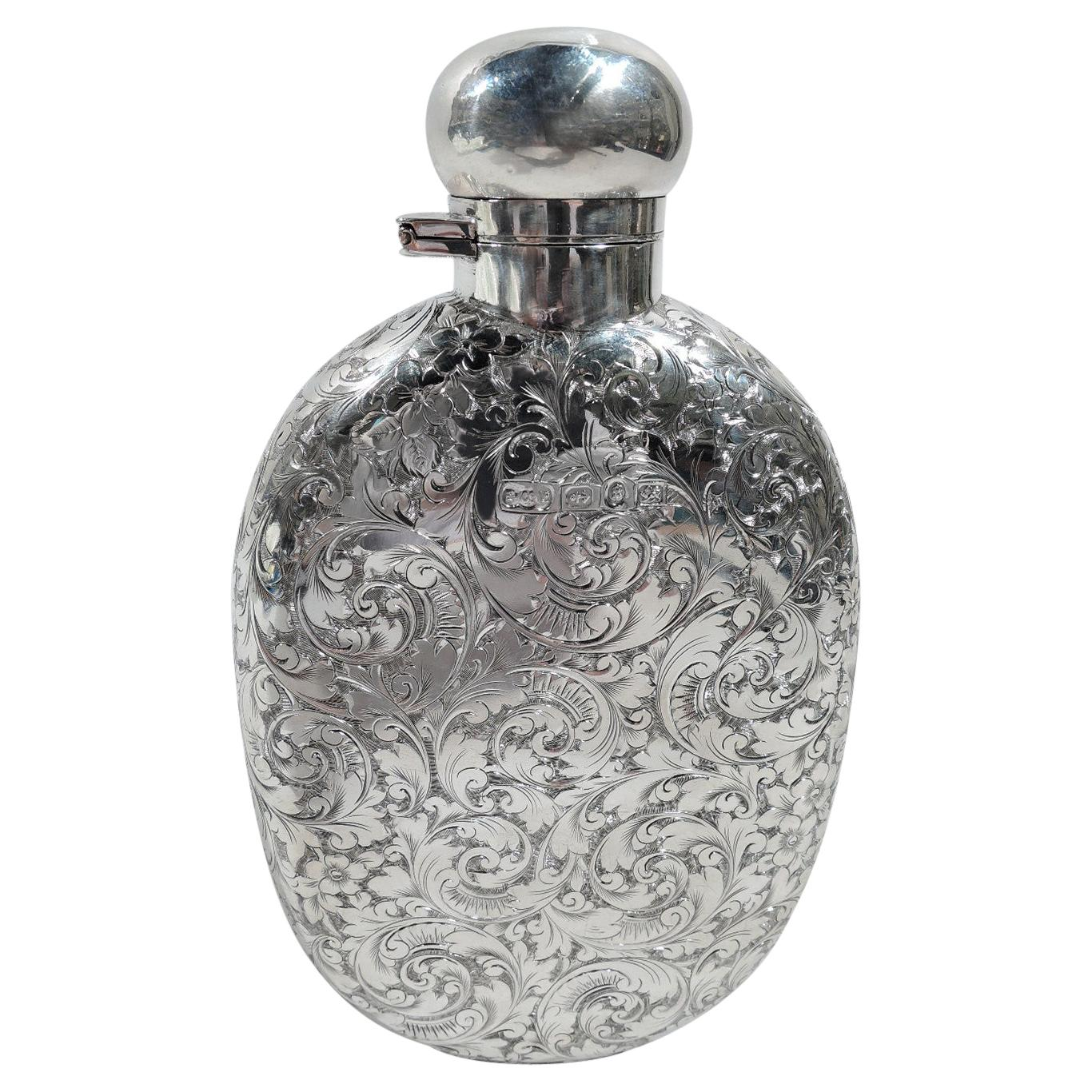 Antique English Victorian Sterling Silver Flask by Elkington