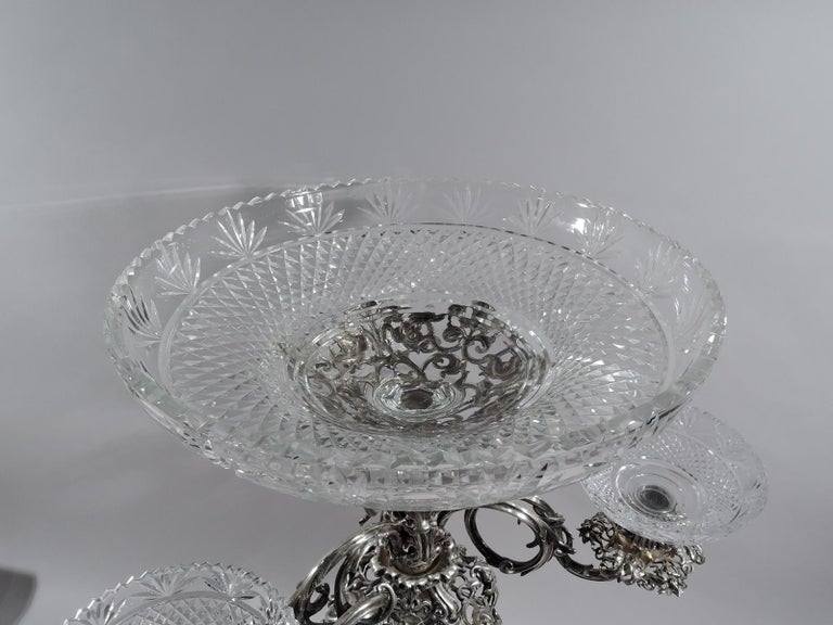 Antique English Victorian Sterling Silver and Glass Epergne Candelabrum In Excellent Condition For Sale In New York, NY