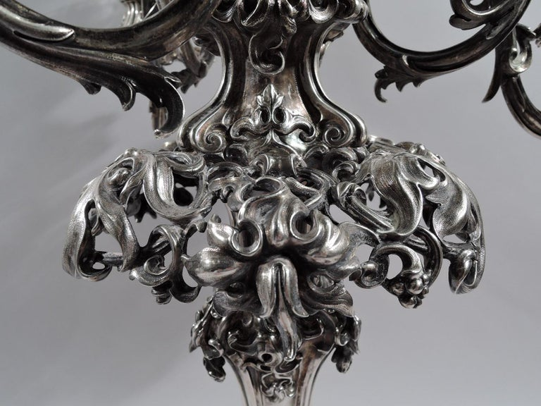 Antique English Victorian Sterling Silver and Glass Epergne Candelabrum For Sale 1