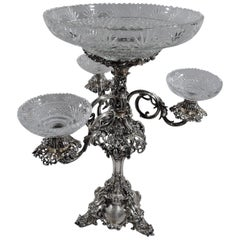 Antique English Victorian Sterling Silver and Glass Epergne Candelabrum