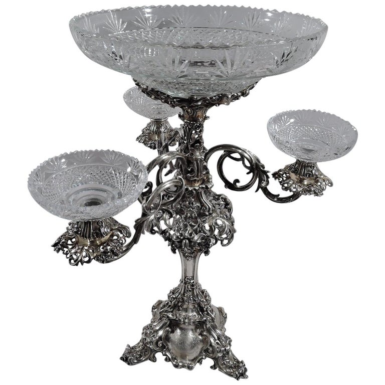 Antique English Victorian Sterling Silver and Glass Epergne Candelabrum For Sale