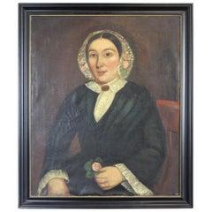 Antique English Victorian Woman Portrait Oil Painting Henry James Barrett