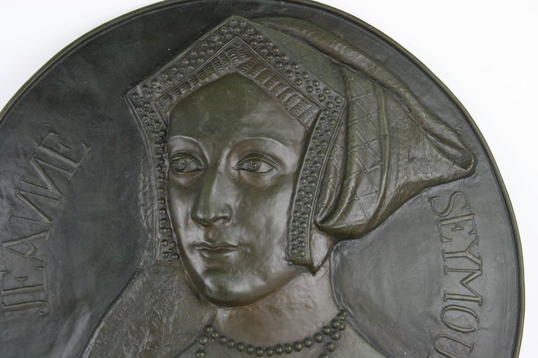1-4028 antique metal sculptural wall plaque of Jane Seymour wife of King Henry 8th of England.