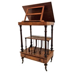 Antique English Walnut Canterbury and Music Stand