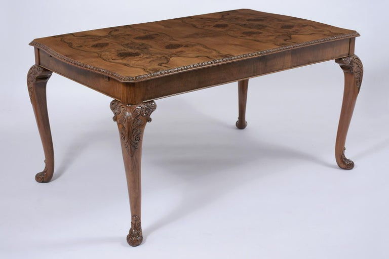 Carved Antique English Walnut Dining Table For Sale