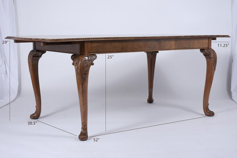 Wood Antique English Walnut Dining Table For Sale