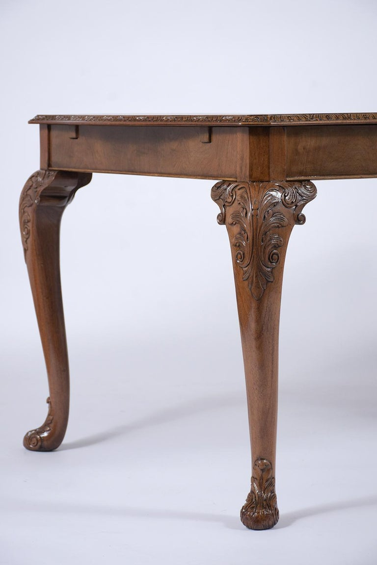 Antique English Walnut Dining Table For Sale 1
