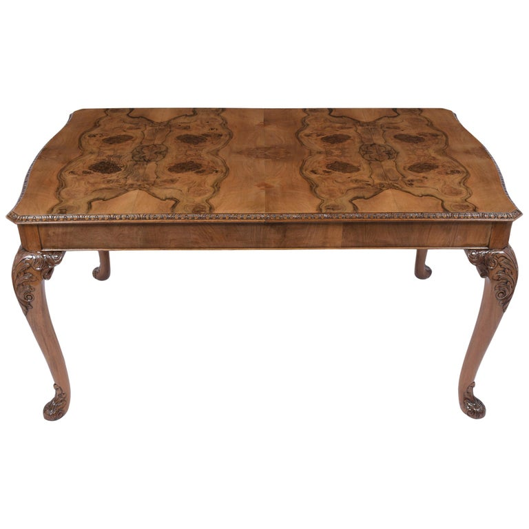 Antique English Walnut Dining Table For Sale