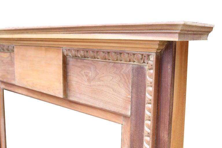 Hand-Crafted Antique English Walnut Fire Surround For Sale