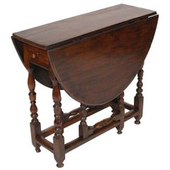 Antique English Walnut Gate Leg Table