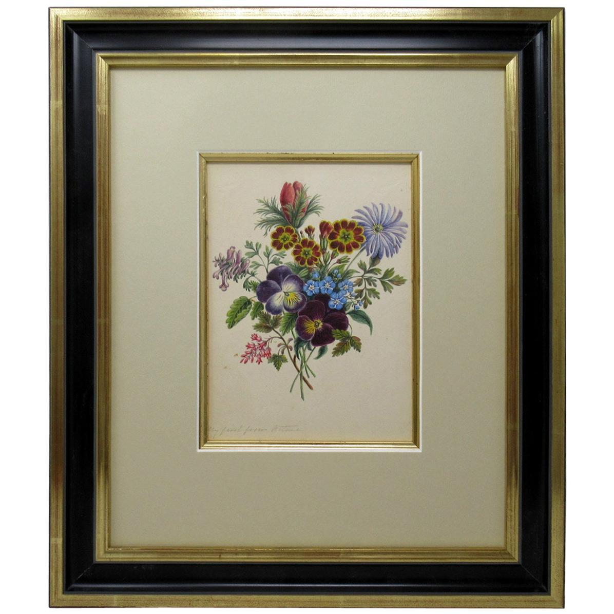Antique English Watercolor Painting Still Life of Flowers Gilt Ebony, circa 1900