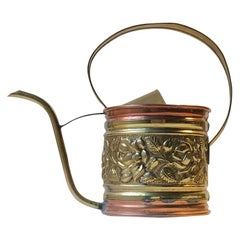 Antique English Watering Can in Copper and Brass
