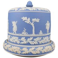Antique English Wedgwood Blue Jasperware Porcelain Cheese Keeper, 19th Century