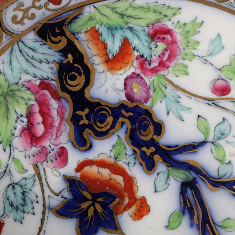 Antique English Wedgwood Noma School Flow Blue and Gilt Porcelain Gravy Boat For Sale 5