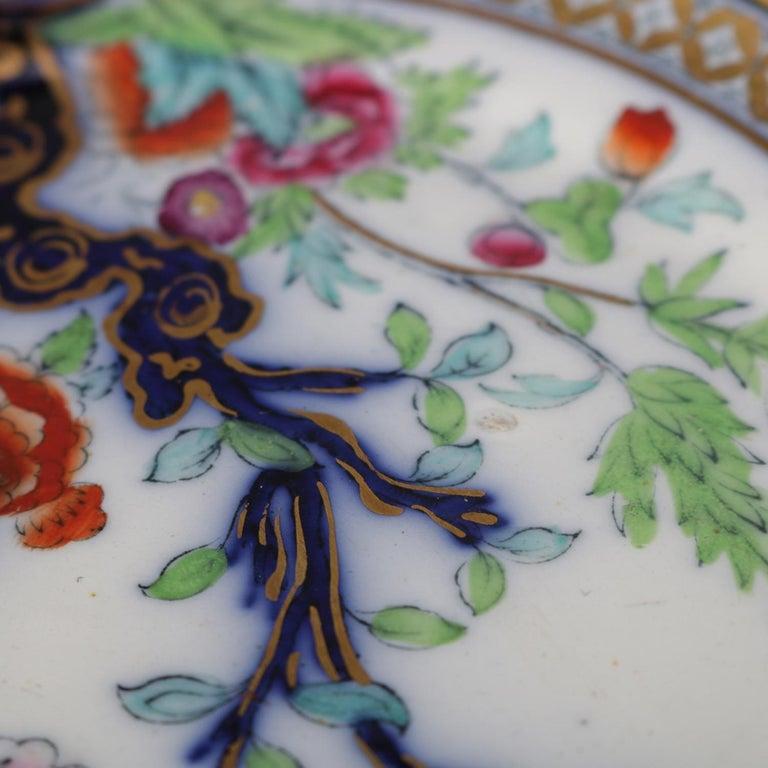 Antique English Wedgwood Noma School Flow Blue and Gilt Porcelain Gravy Boat For Sale 4