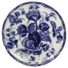 "Antique English Wedgwood ""Pearl Ware"" Ironstone Flow Blue Dessert Plates"