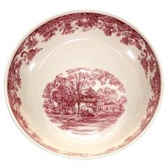 Antique English Wedgwood Scenic Red & White Porcelain Center Bowl, 20thC