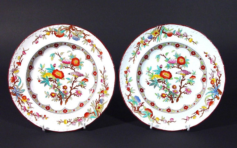 Country Wedgwood Set of Six Pearlware Botanical Plates, circa 1870 For Sale