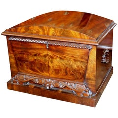 Antique English William iv Bookmatched Flame Mahogany Dome Top Cellarette