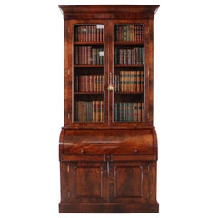 Antique English William IV Mahogany Cylinder Bookcase