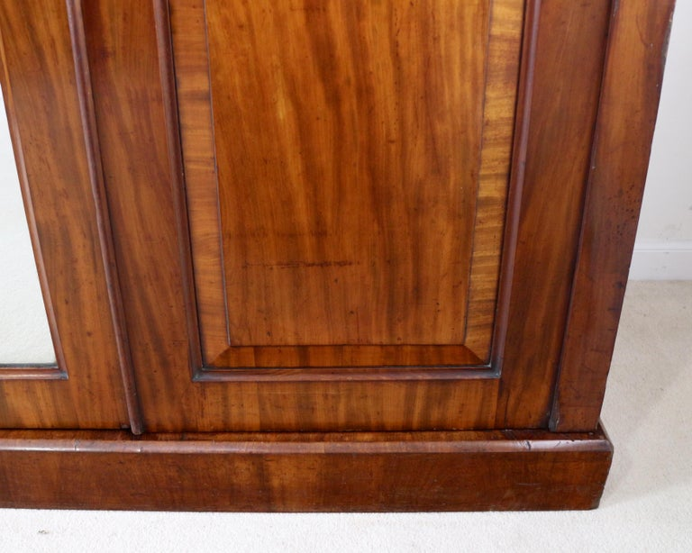 Antique English William IV Mahogany Three-Door Fitted Wardrobe, circa 1830 For Sale 8