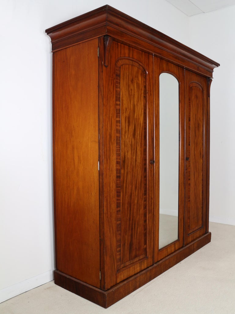 Antique English William IV Mahogany Three-Door Fitted Wardrobe, circa 1830 For Sale 15