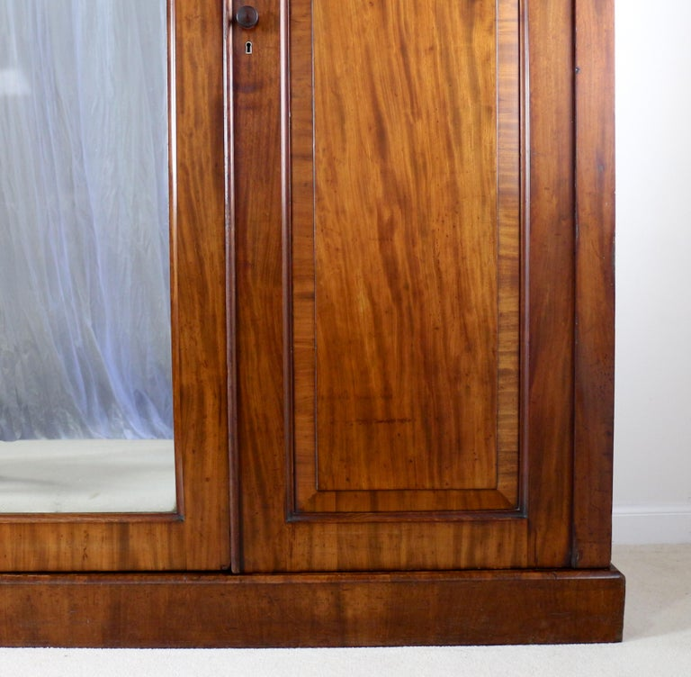 Antique English William IV Mahogany Three-Door Fitted Wardrobe, circa 1830 For Sale 2