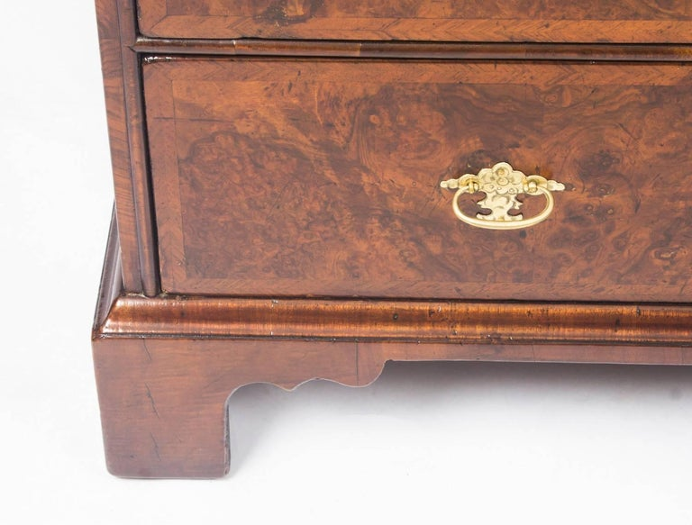 Antique English William & Mary Walnut and Feather Banded Bureau, 17th Century 8