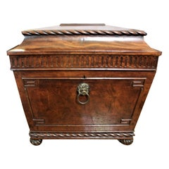Antique English Willian IV Flamed Mahogany Wine Cooler with Lion Head Handles
