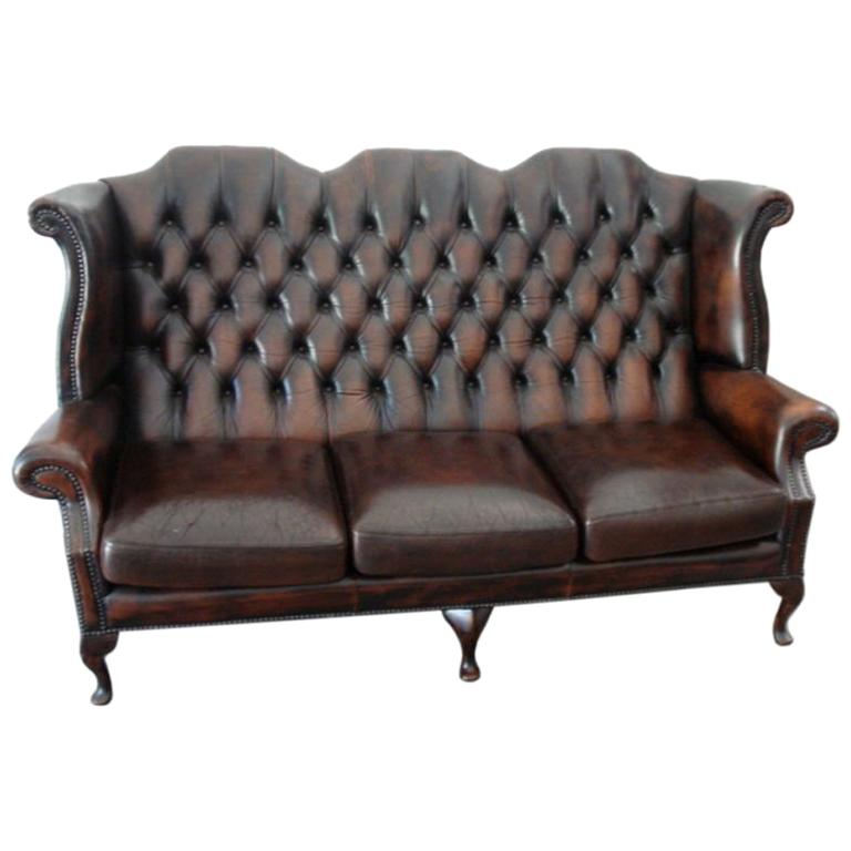 Antique  English Wing Back Leather Sofa For Sale