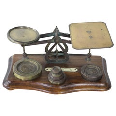 Antique English Wood and Brass Postal Scale