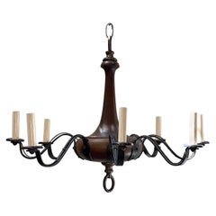 Antique English Wood and Iron Chandelier