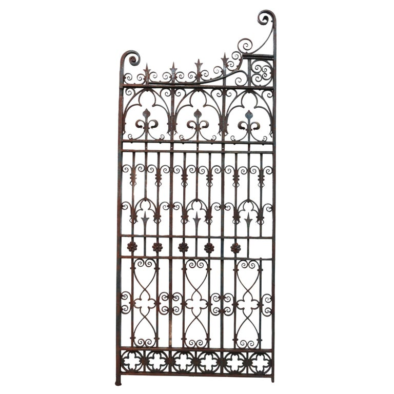 Antique English Wrought Iron Garden Gate For Sale